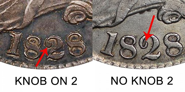 1828 Knobbed 2 vs No Knob 2 Capped Bust Half Dollar - Difference and Comparison