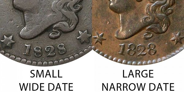 1828 Coronet Head Large Cent - Small Wide Date vs Large Narrow Date