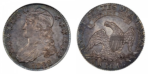 1828 Capped Bust Half Dollar - Square Base 2 - Small 8s - Large Letters