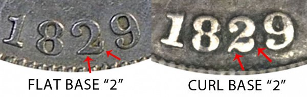 1829 Curl Base 2 vs Flat Base 2 Capped Bust Dime - Difference and Comparison