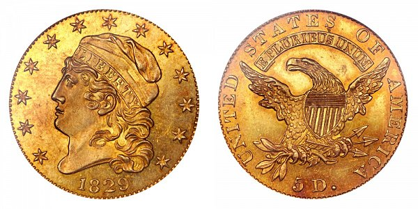 1829 Large Date Capped Bust $5 Gold Half Eagle - Five Dollars
