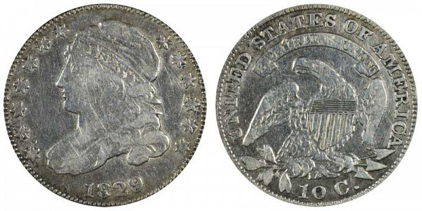 1829 Small 10C Capped Bust Dime