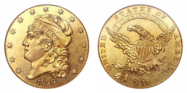 1829 Small Date Capped Bust $5 Gold Half Eagle - Five Dollars