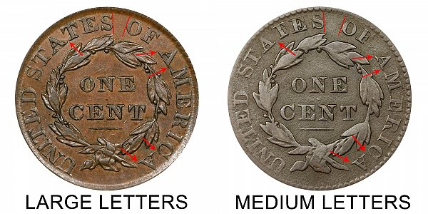 1830 Large Letters vs Medium Letters Coronet Head Large Cent - Difference and Comparison