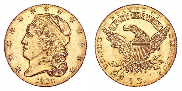 1830 Small 5D Capped Bust $5 Gold Half Eagle - Five Dollars