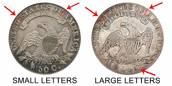 1830 Small Letters vs Large Letters Capped Bust Half Dollar - Difference and Comparison