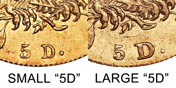 1831 Small 5D vs Large 5D - $5 Capped Bust Gold Half Eagle - Difference and Comparison