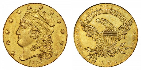 1832 12 Stars - Curl Base 2 - Capped Bust $5 Gold Half Eagle - Five Dollars