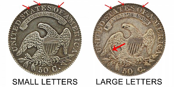 1832 Capped Bust Half Dollar Varieties - Difference and Comparison