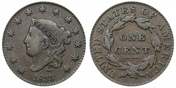 1833 Coronet Head Large Cent Penny