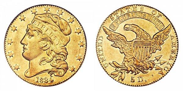 1834 Capped Bust $5 Gold Half Eagle - Crosslet 4 - Five Dollars