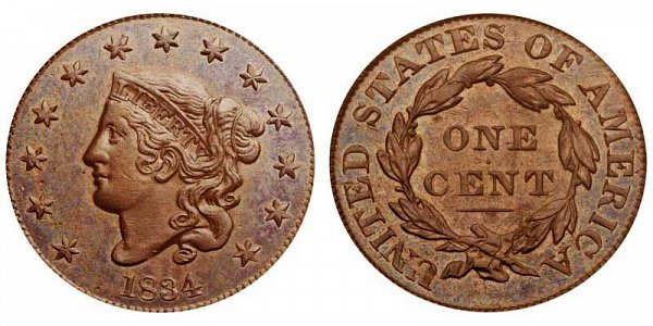 1834 Coronet Head Large Cent Penny - Large 8 - Large Stars - Large Letters