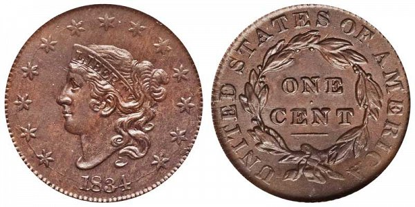 1834 Coronet Head Large Cent Penny - Large 8 - Large Stars - Medium Letters