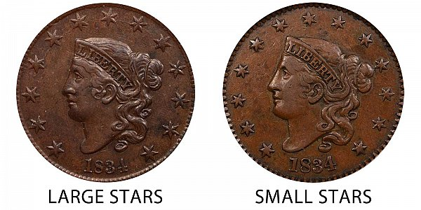 1834 Large Stars vs Small Stars Coronet Head Large Cent - Difference and Comparison