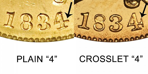 1834 Plain 4 vs Crosslet 4 - $5 Classic Head Gold Half Eagle - Difference and Comparison