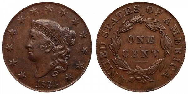 1834 Coronet Head Large Cent Penny - Small 8 - Large Stars - Medium Letters
