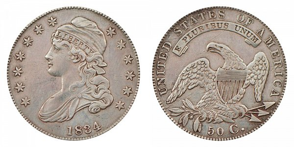 1834 Capped Bust Half Dollar - Small Date - Small Letters - Small Stars