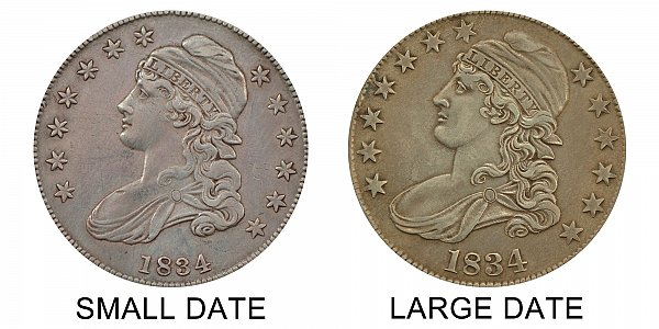 1834 Small Date vs Large Date Capped Bust Half Dollar - Difference and Comparison