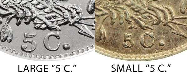 1835 Large 5C vs Small 5C Capped Bust Half Dime - Difference and Comparison