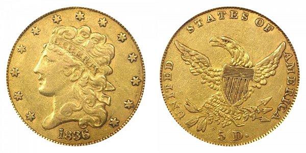 1836 Classic Head $5 Gold Half Eagle