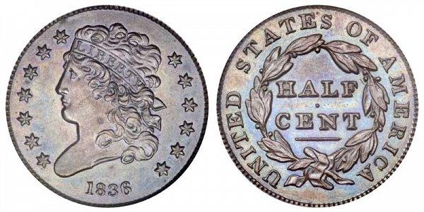 1836 Classic Head Half Cent Penny - Original Strike