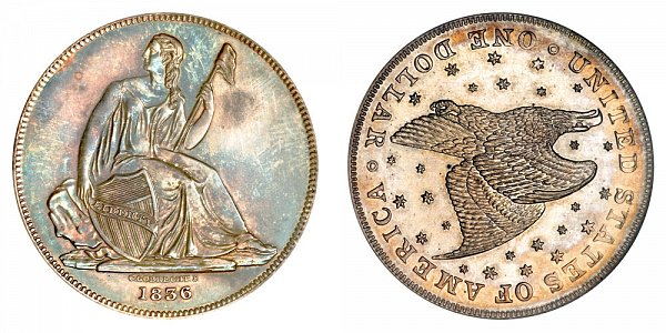 1836 Gobrecht Dollar Restrike - Die Alignment 3 - Starry Field - Name Below Base