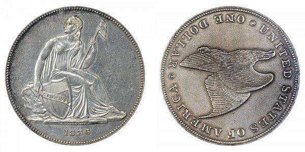 1836 Gobrecht Dollar Restrike - Die Alignment 3 - Plain Field No Stars - Name On Base