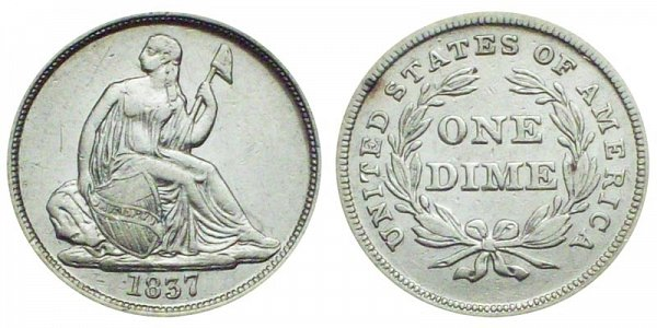 1837  Large Date Seated Liberty Dime - Type 1 No Stars