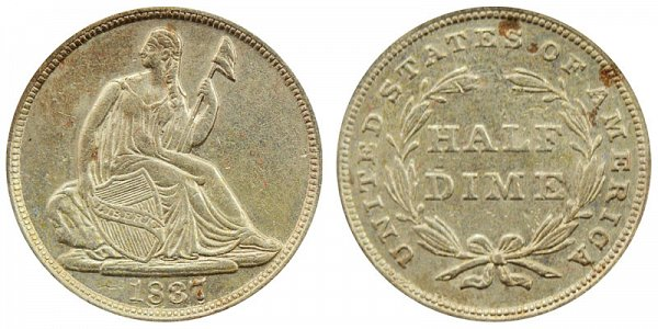 1837 Large Date Seated Liberty Half Dime