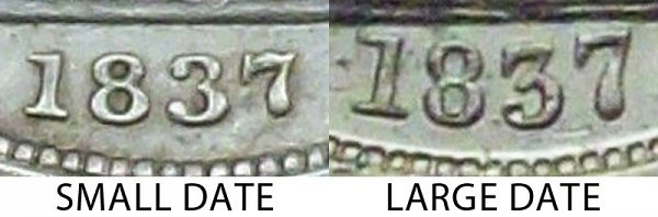 1837 Small Date vs Large Date Seated Liberty Dime - Difference and Comparison