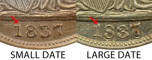 1837 Small Date vs Large Date Seated Liberty Half Dime - Difference and Comparison