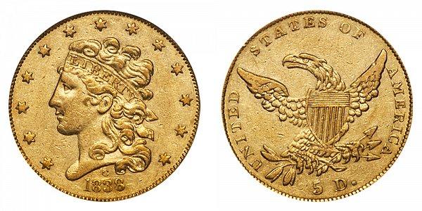 1838 C Classic Head $5 Gold Half Eagle