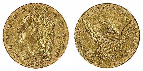 1838 C Classic Head $2.50 Gold Quarter Eagle - 2 1/2 Dollars