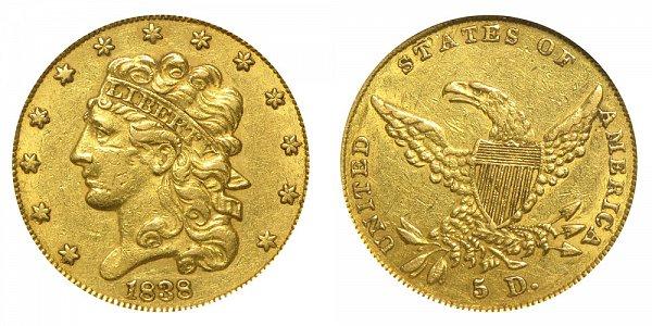 1838 Classic Head $5 Gold Half Eagle