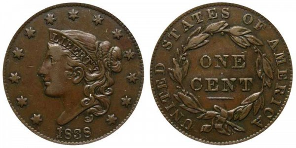 1838 Coronet Large Cent Penny