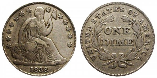 1838 Large Stars Seated Liberty Dime - Type 2 With Stars Added