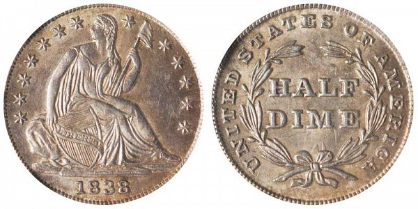 1838 Large Stars Seated Liberty Half Dime