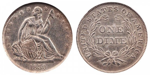 1838 Small Stars Seated Liberty Dime - Type 2 With Stars Added