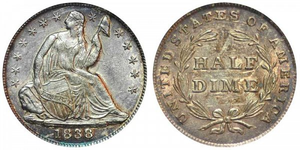1838 Small Stars Seated Liberty Half Dime