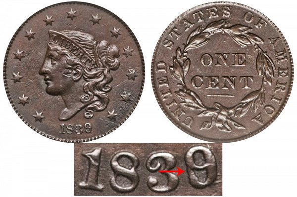 1839/6 Coronet Head Large Cent Penny - Plain Cords - Head Of 1836