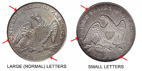 1839 Small Letters vs Large Normal Letters Capped Bust Half Dollar - Difference and Comparison