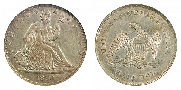 1839 Seated Liberty Half Dollar - No Drapery From Elbow