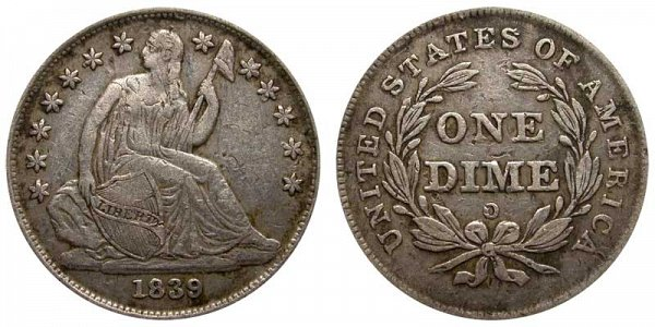 1839 O Seated Liberty Dime - Type 2 No Drapery