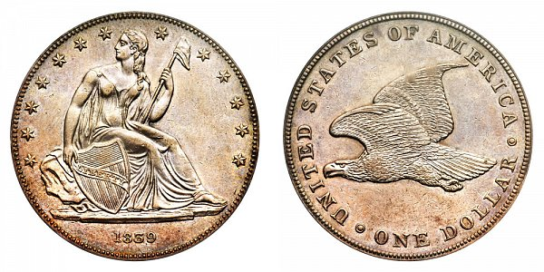 1839 Original Gobrecht Dollar - Die Alignment 4 - Plain Field - Name Omitted - Reeded Edge