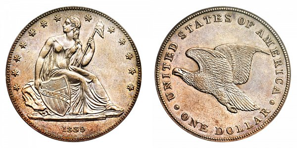 1839 Restrike Gobrecht Dollar - Die Alignment 2 - Plain Field - Name Omitted - Reeded Edge