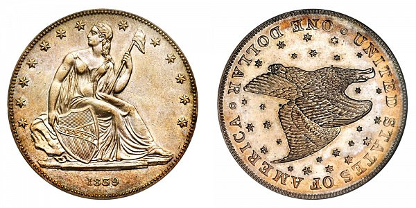 1839 Restrike Gobrecht Dollar - Die Alignment 3 - Starry Field - Name Omitted - Reeded Edge