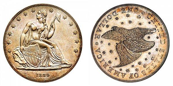 1839 Restrike Gobrecht Dollar - Die Alignment 3 - Starry Field - Name Omitted - Plain Edge