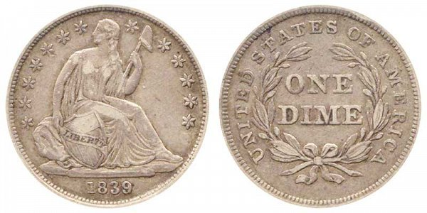 1839 Seated Liberty Dime - Type 2 No Drapery