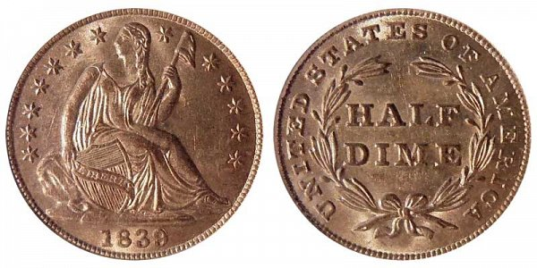 1839 Seated Liberty Half Dime