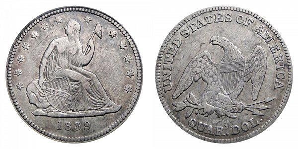1839 Seated Liberty Quarter